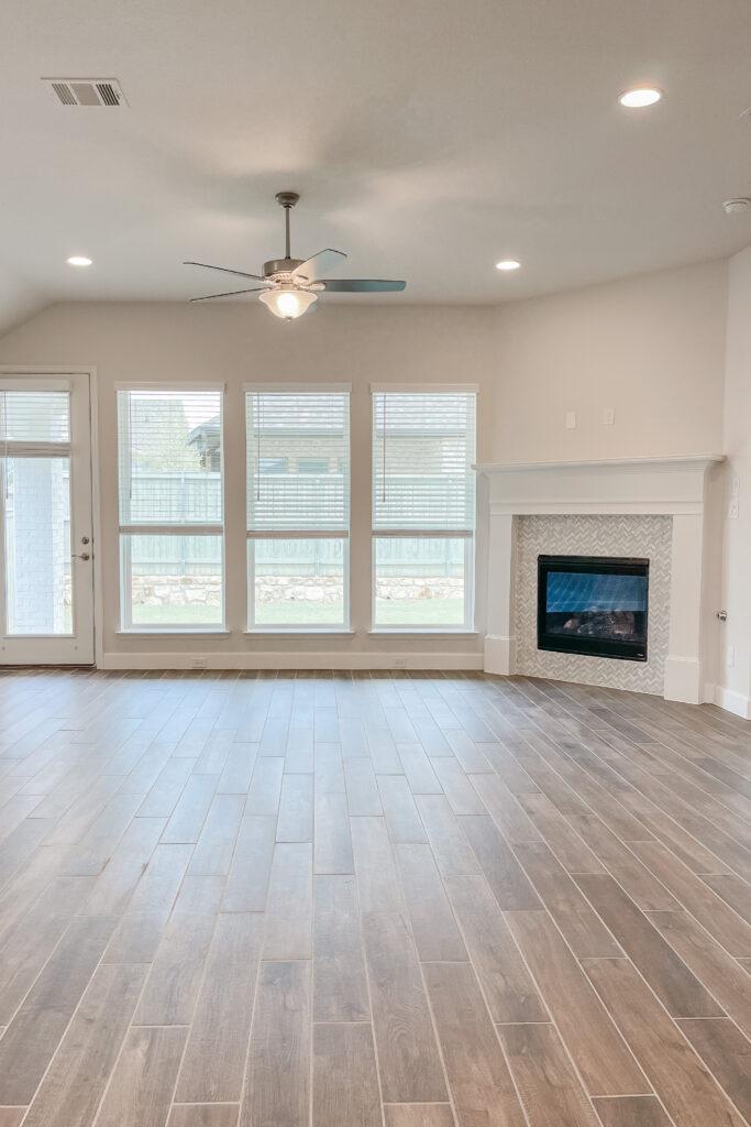 White Brick Cottage Farmhouse, New Construction Home, Wood Tile Floors