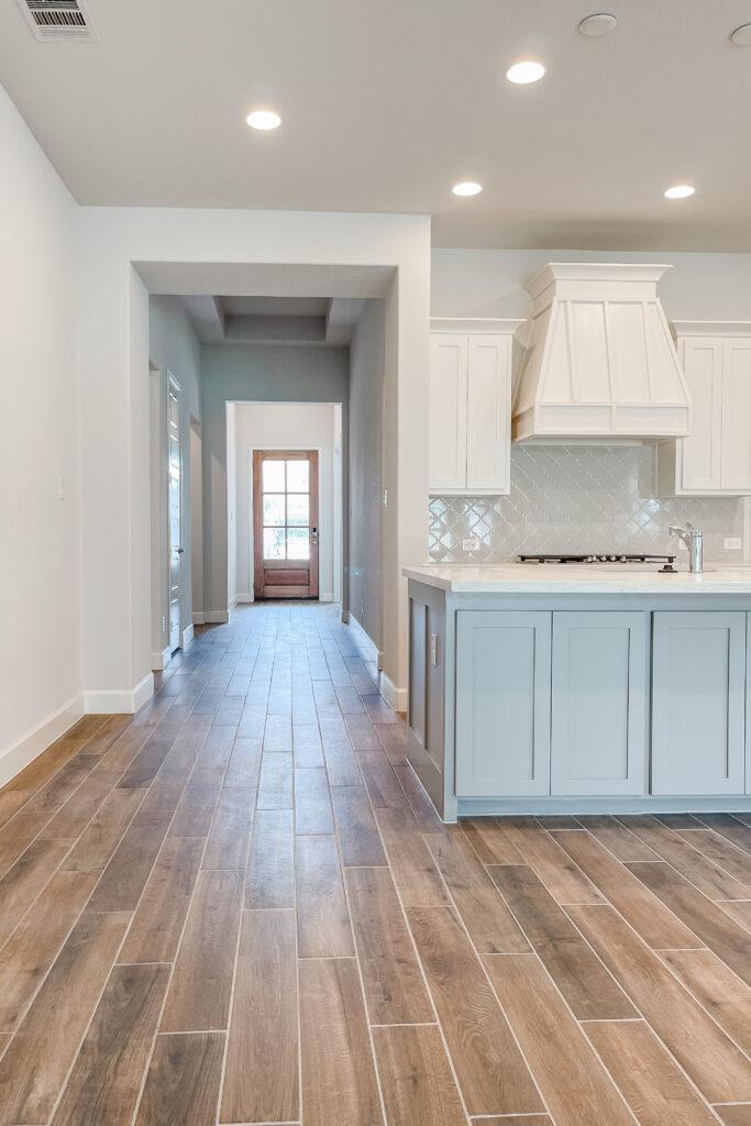 White Brick Cottage Farmhouse, New Construction Home, Wood Tile Floors, Modern Farmhouse Venthood, Quaterfoil Backsplash, Build A Nest Chapter Four