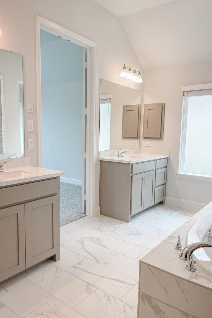 White Brick Cottage Farmhouse, New Construction Home, White Grey Marble Tile, Master Bathroom